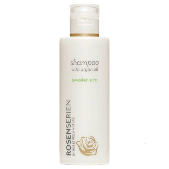 Rosenserien økologiske Shampoo med arganolie god ved hovedbunden alle hårtyper vegansk bæredygtigt giver glans til hår