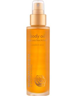 Rosenseriens økologiske Bodyoil med Havtorn og Rosenolie kropsolie naturlig vegansk miljøvenlig blød hud